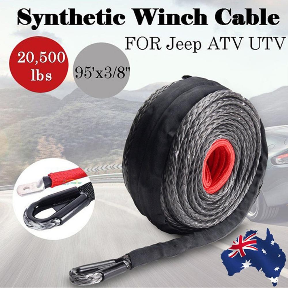 9.5mm*28m Synthetic Winch Line Cable Rope 20500LBs Hook + Hawse Fairlead For All-Terrain Vehicle Sports Utility Vehicle