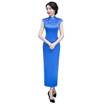 Shanghai Story Back Lotus Embroidery Qipao Blue Chinese Traditional Dresses Long Cheongsam Dress Chinese Women's Dress