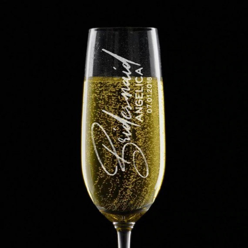 Wedding Gift Champagne Flutes: Custom Bridesmaid & Groomsmen Gift Personalized Wedding
