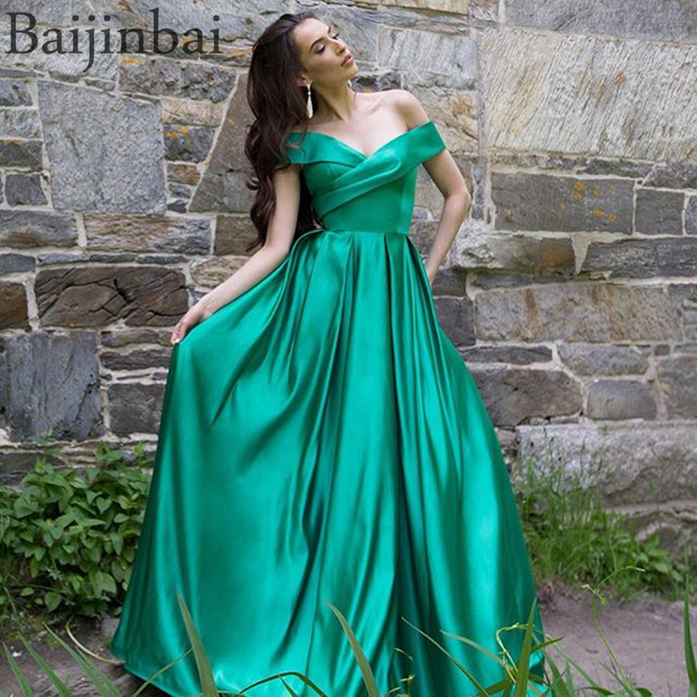 Baijinbai Wrap Off Shoulder Ball Gown   Prom     Dresses   Satin Evening Pageant Gowns Vestido de Festa Party Long   Dress   with Pockets