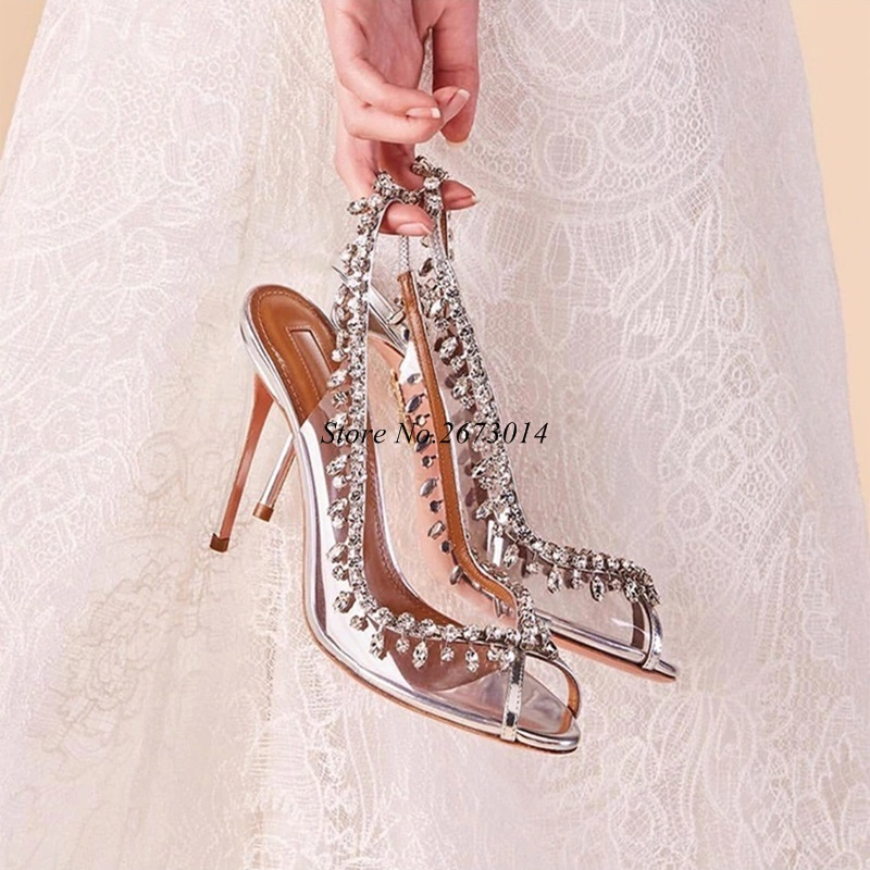 Female 2019 Spring New Silver Women Pumps Open Toe Crystal Stiletto High Heel Wedding Shoes Transparent Clear Party SlingbacksFemale 2019 Spring New Silver Women Pumps Open Toe Crystal Stiletto High Heel Wedding Shoes Transparent Clear Party Slingbacks