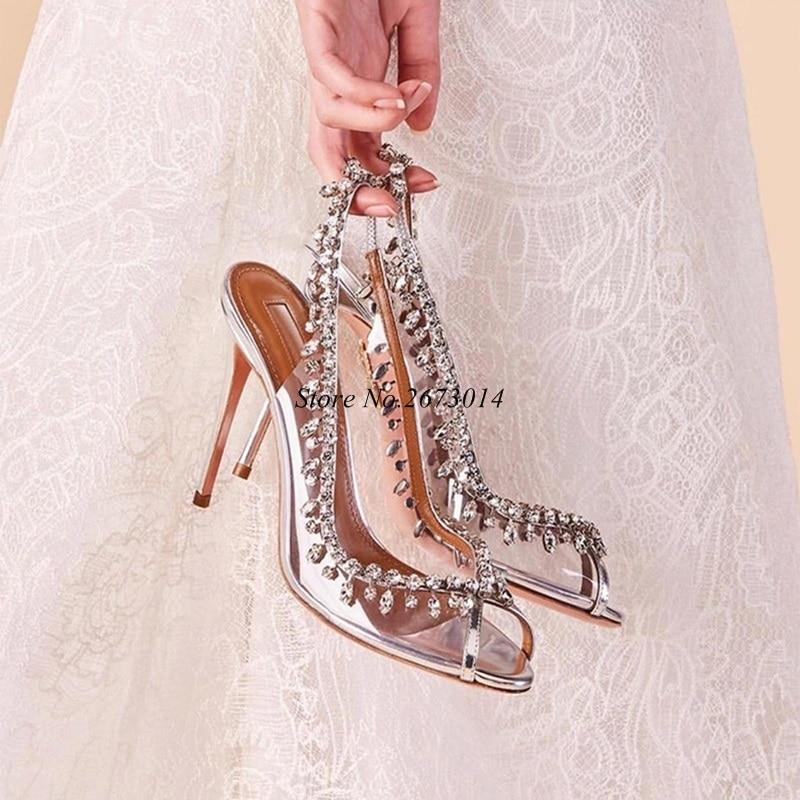 Femmes Argent Stiletto Chaussures Nouveau Picture Parti Escarpins Pompes Haut 2019 Talon À Printemps Femelle Effacer Bout Ouvert Cristal As Mariage Transparent De xIvOtqE