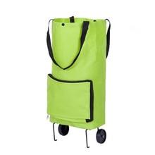 women foldable storage bag fashion shopping cart tug trolley case wheels reusable shopping bag