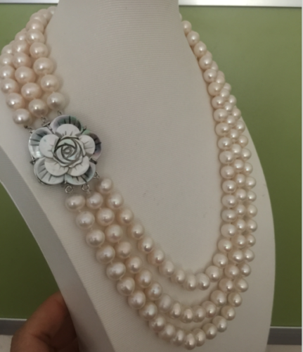 3 rows south sea round 9-10mm white pearl necklace 181920>>>girls choker necklace pendant Free shipping3 rows south sea round 9-10mm white pearl necklace 181920>>>girls choker necklace pendant Free shipping