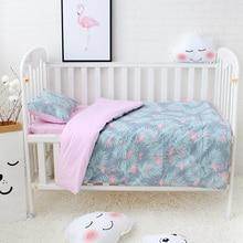 3 adet Set bebek nevresim takımı dahil nevresim düz levha yastık saf pamuk karikatür desen bebek çarşaf seti beşik kiti