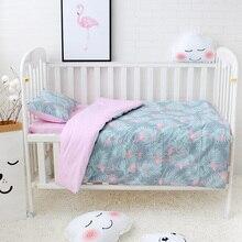 3 pcs 세트 아기 침구 세트 이불 커버 포함 플랫 시트 베개 케이스 순수 코튼 카툰 패턴 베이비 침대 린넨 세트 유아용 침대 키트