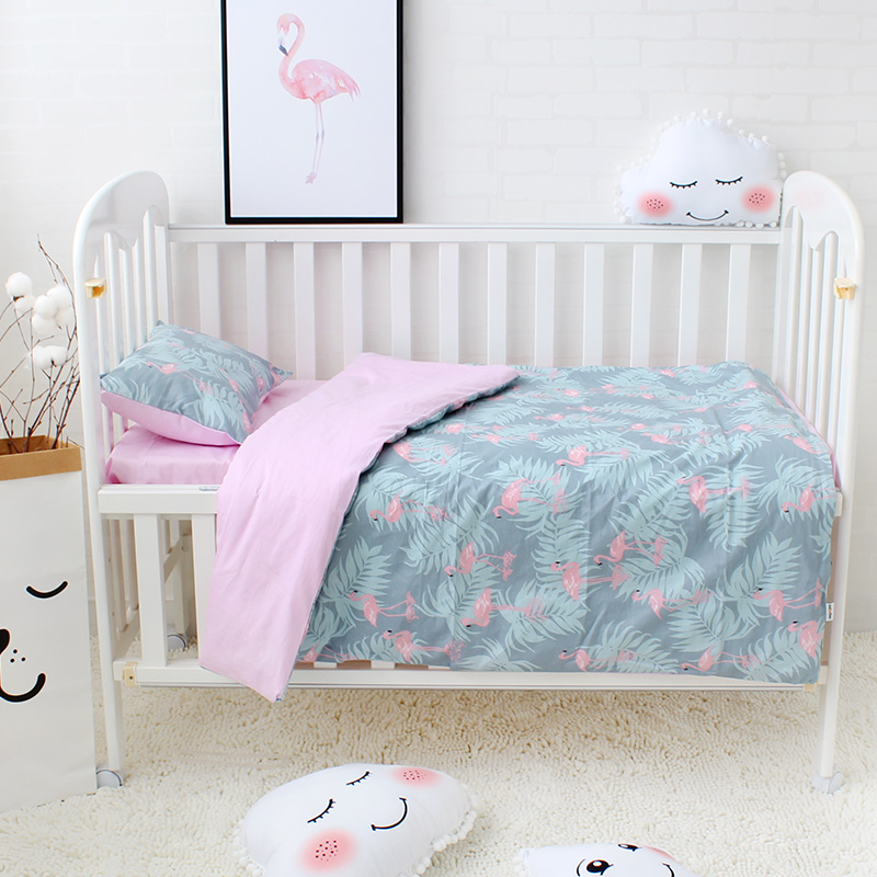 3Pcs Set Baby Bedding Set Include Duvet Cover Flat Sheet Pillowcase Pure Cotton Cartoon Pattern Baby Bed Linen Set Crib Kit
