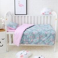 3Pcs Set Baby Bedding Set Include Duvet Cover Flat Sheet Pillowcase Pure Cotton Cartoon Pattern Baby Bed Linen Set Crib Kit