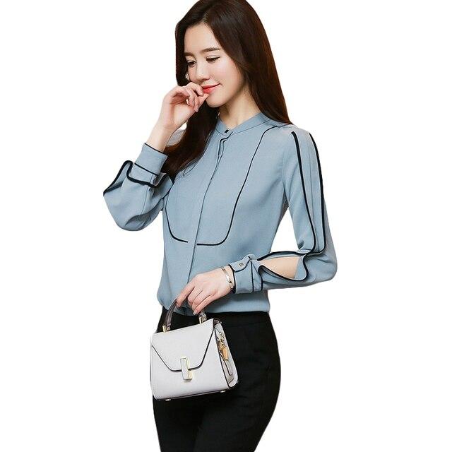 34b50c78c7 2018 New Spring Women Chiffon Shirts Fashion Elegant Female Color Patchwork  Long Sleeve Chiffon Blouse Casual