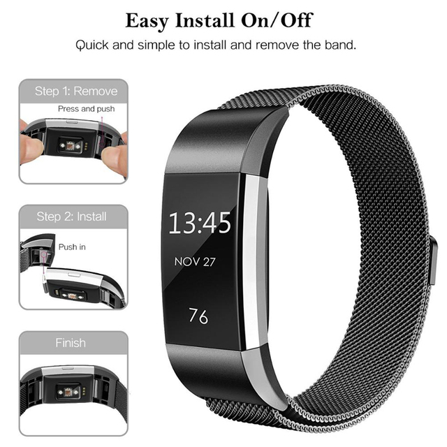 JKER Stainless Steel Magnetic Milanese Loop Band for Fitbit Charge 2 Replacement Wristband Strap for Fitbit Charge 3 Watchband 1