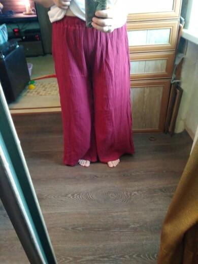 Autunm  Harem Pant Hemp Bloomer Plus Size M 5Xl 6Xl  Loose Women Trouser Cotton Linen Pleated Oversize Sashes Wide Leg Pant photo review