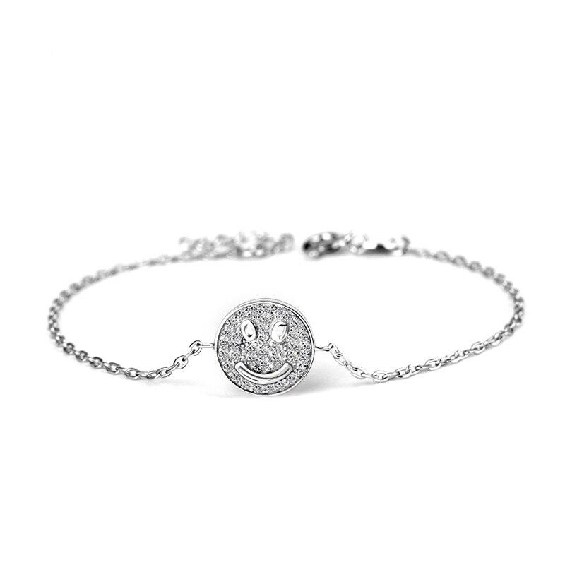 100% 925 Sterling Silver Simples Mulheres Pulseiras Conjuntos Completos Sempre Sorriso Moeda Pulseira de Zircão para As Mulheres Da Moda Jóias