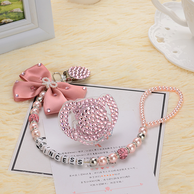 Купить с кэшбэком MIYOCAR Personalised-any name set stunning pink bling bow pacifier clip holder dummy clip with bling pacifier