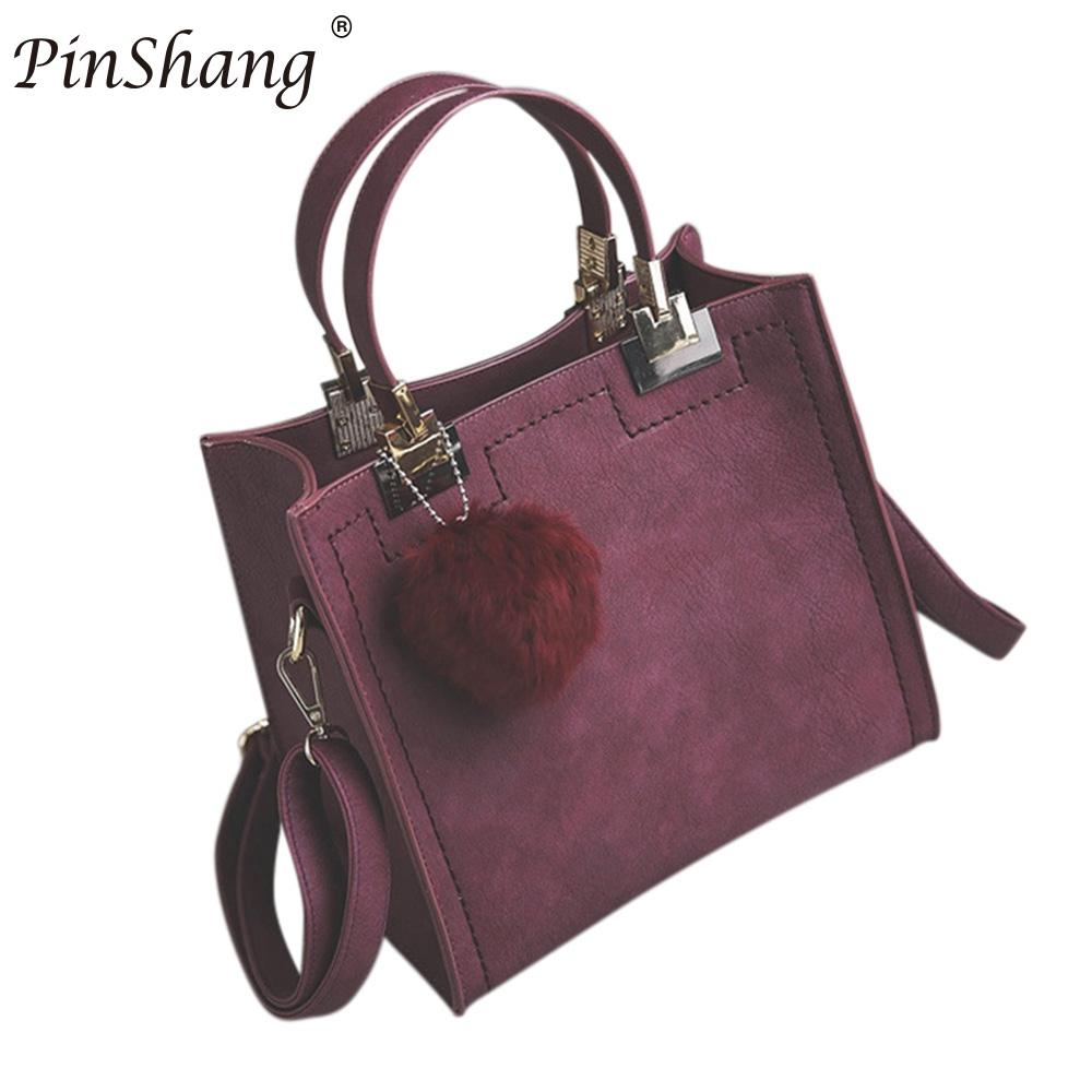 PinShang Fashion PU leather handbag Women Casual Large Tote Bag Lady Shoulder Messenger Bags With Fur Ball Office woman ZK30