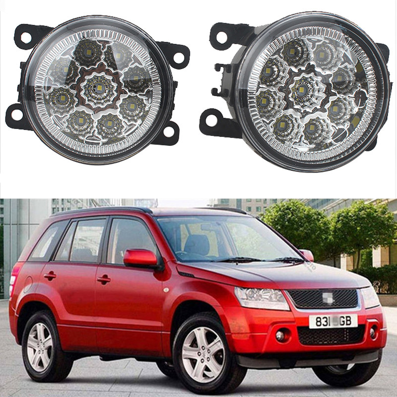 For SUZUKI Grand Vitara 2 JT 2005-2015 JIMNY FJ 1998-2015 Front Bumper High Brightness LED Fog Lights Car styling White Lamps for suzuki jimny fj closed off road vehicle 1998 2013 10w high power high brightness led set lights lens fog lamps