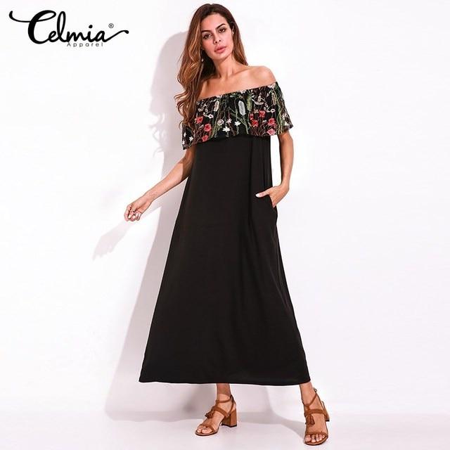 2018 New Women Sexy Maxi Dress Summer Off Shoulder Long Shift Dress  Embroidery Mesh Layers Flounce edb838521a3d