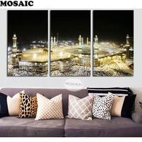 Full square 5d diy diamond painting holy mecca Islamic Muslim 3 piece diamond painting cross stitch 3d living room decoration