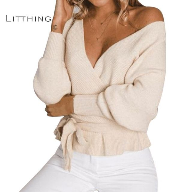 673ae3f8eb89 LITTHING Women Off Shoulder V Neck Twisted Sweater Casual Tops Long Sleeve  Knitted Sweaters Womens Backless Jumpers Pullovers XL