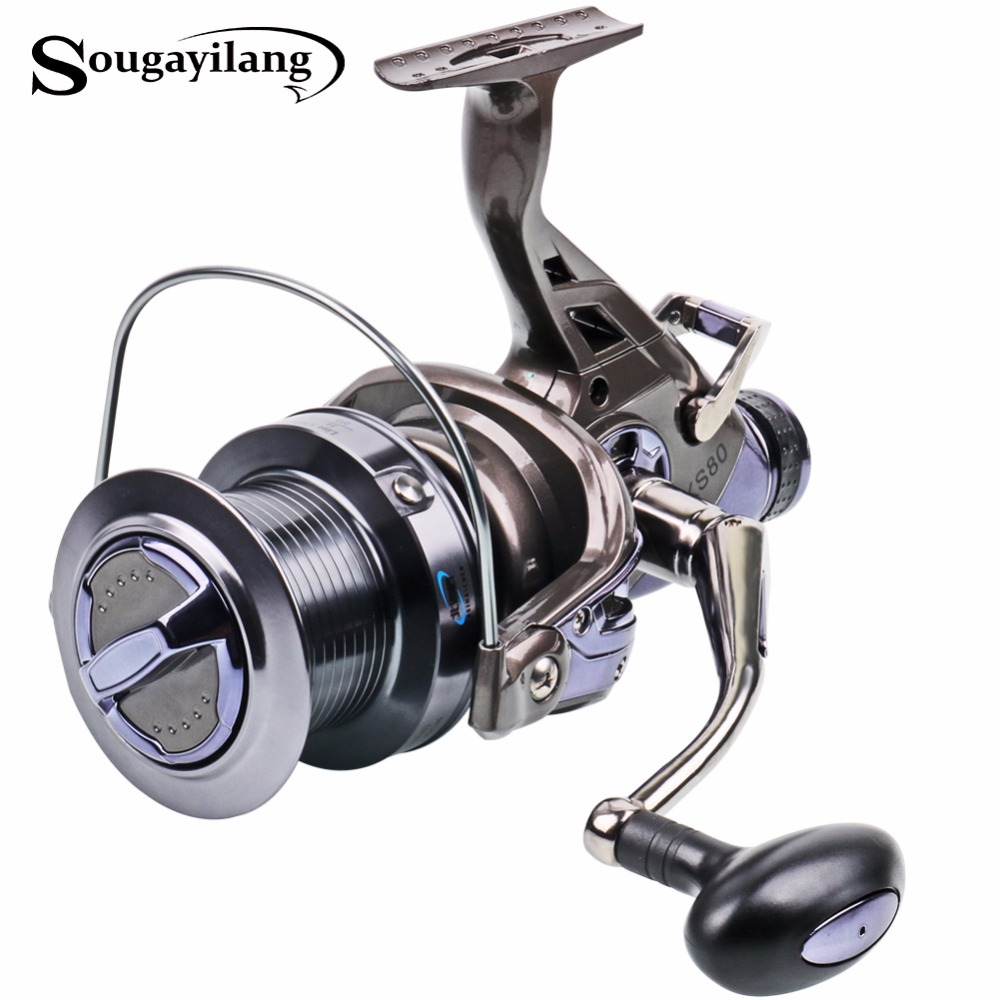 где купить  Sougayilang Carp Fishing Reel Metal Spool 9+1BB 4.1:1 High Speed Spinning Fishing Reel Super Quality Drum Carp Reel De Pesca  по лучшей цене