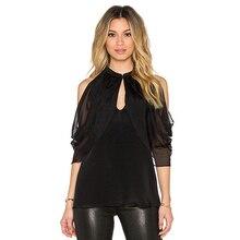 Women Summer Fashion Off Shouler Batwing Blouse Black Chiffon Blouses Shirts Plus Size Ladies Stand Collar Top Camisa Feminina