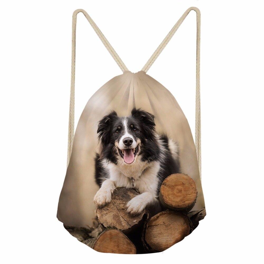 Women Men Drawstring Bags 3D Lovely Dog Border Collie Print Girls Boy Soft Storage Backpacks School Student Bookbag Punch Pocket