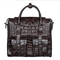 Крокодил кожаный портфель бизнес ноутбук сумка мужчины плеча сумки Дизайнер портфель большой емкости Кроссбоди мешок