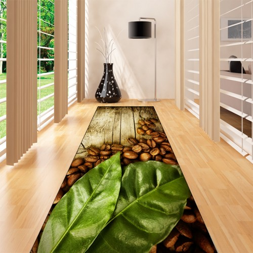 Else Brown Wood Green Leaves Coffee Beans 3d Print Non Slip Microfiber Washable Long Runner Mat Kitchen Rugs Hallway Carpets