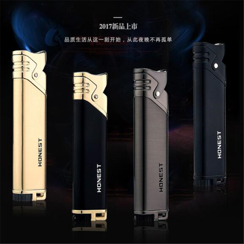 New 4 color Blue fire direct Gas Inflatable Windproof portable Lighter Creative Gift Personality Metal lighter gift for Men