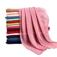 ขายส่ง 10 ชิ้น/ล็อตผู้หญิงผ้าฝ้าย Crinkle จีบผ้าพันคอ Hijab สีทึบจีบ Ruched ริ้วรอยยาวขนาดใหญ่ผ้าพันคอ Hijabs