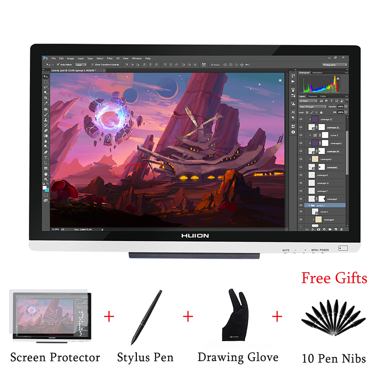 HUION GT-220 V2 dibujo lápiz Monitor pantalla 21,5 pulgadas IPS Pen tableta Monitor con pantalla HD para niveles Win y Mac 8192