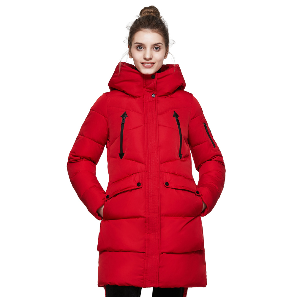 ICEbear 2017 Winter Women's Park Thick Warm Jacket with Long Sleeves Fashion Winter Coats with Hood for Leisure Coat 16G6155D