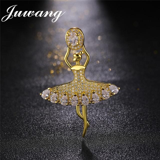 JUWANG Ballet Dancing Girl Brooch for Woman AAA Cubic Zirconia Figure Pin Luxury Wedding Jewelry Gift  Scarf Clip