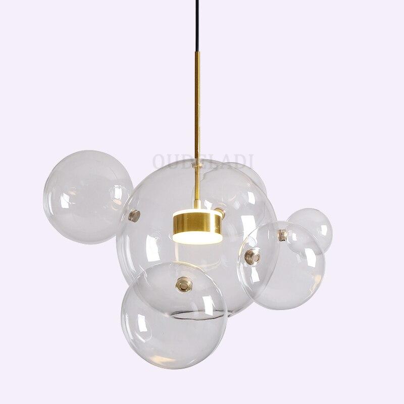 Modern LED Bubble Golden Rod Pendant Lights Nordic Living Room Restaurant Bar Glass Ball Magic Bean Molecule Pendant Lamp