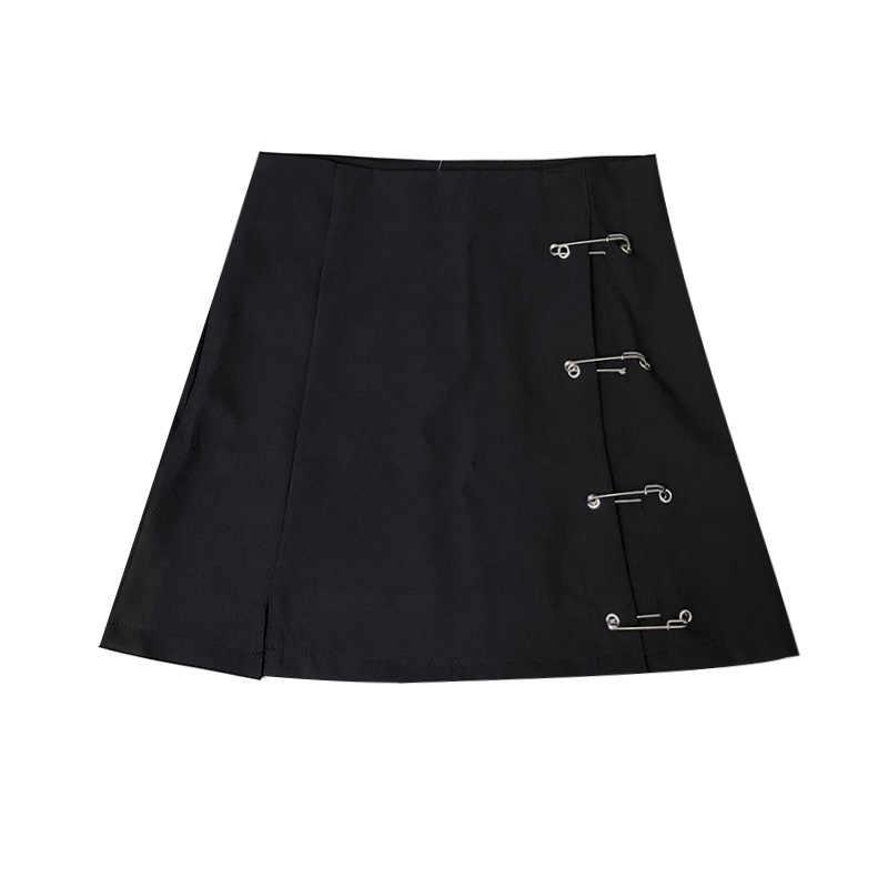 4ecaa23bfd886 New harajuku punk rok streetwear skirt decorative pins split skirt black  mini short high waist skirt women