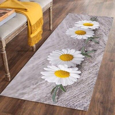 Else Gray Floor Yellow White Daisy Flowers 3d Print Non Slip Microfiber Washable Long Runner Mats Floor Mat Rugs Hallway Carpets