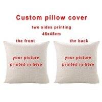 Персонализированная двухсторонняя печать на заказ подушка для дома декоративная подушка из хлопка и льна 45х45 см, печать Вашего логотипа