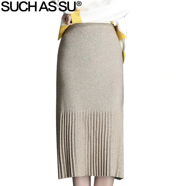 9678cdb0e8 New Casual Solid Color Knit Skirt Womens 2018 Autumn Winter Black Apricot  Elastic High Waist Pleated