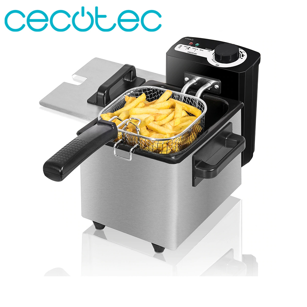 Cecotec CleanFry Electric 1.5 L Stainless Steel OilCleaner Filter 1000W Power Temperature Adjustable 190º C Overheat Protection