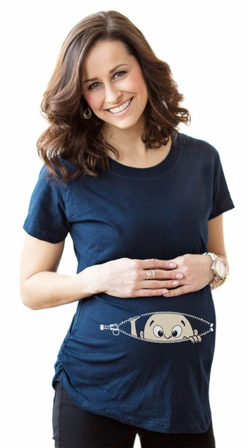 ff956eebc548b Detail Feedback Questions about Pocket Baby Pee a Boo Print Maternity Shirt  Cotton Funny Maternity Shirts Gravida Top Pregnancy Clothing Cheap Tees  Casual ...