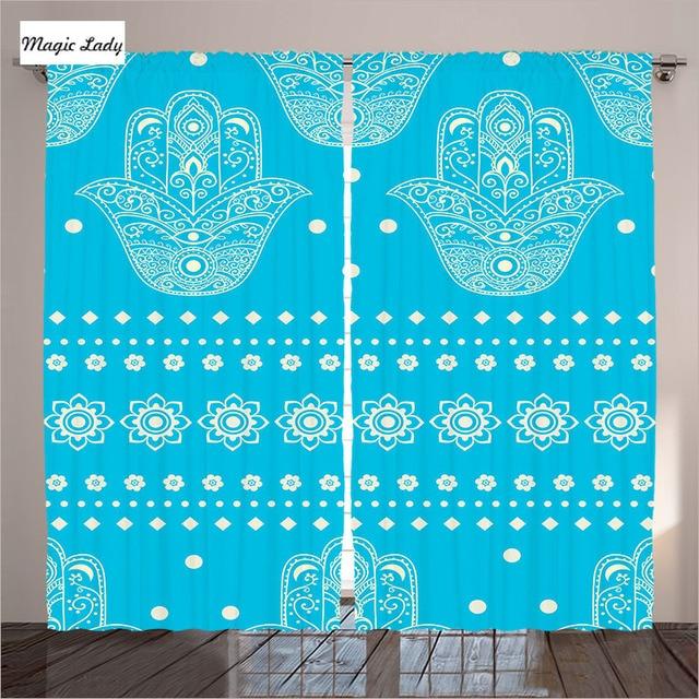 € 82.53 |Turquoise Rideaux Salon Chambre La Culture Orientale Hamsa Mains  Motifs Floraux Amulette Art Eye Bleu 2 Panneaux Ensemble 145*265 sm dans ...