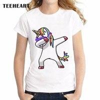 Dabbing Unicorn Women T Shirt Short Sleeve O Neck Tops Fashion Panda Pug Cat Cartoon Printed
