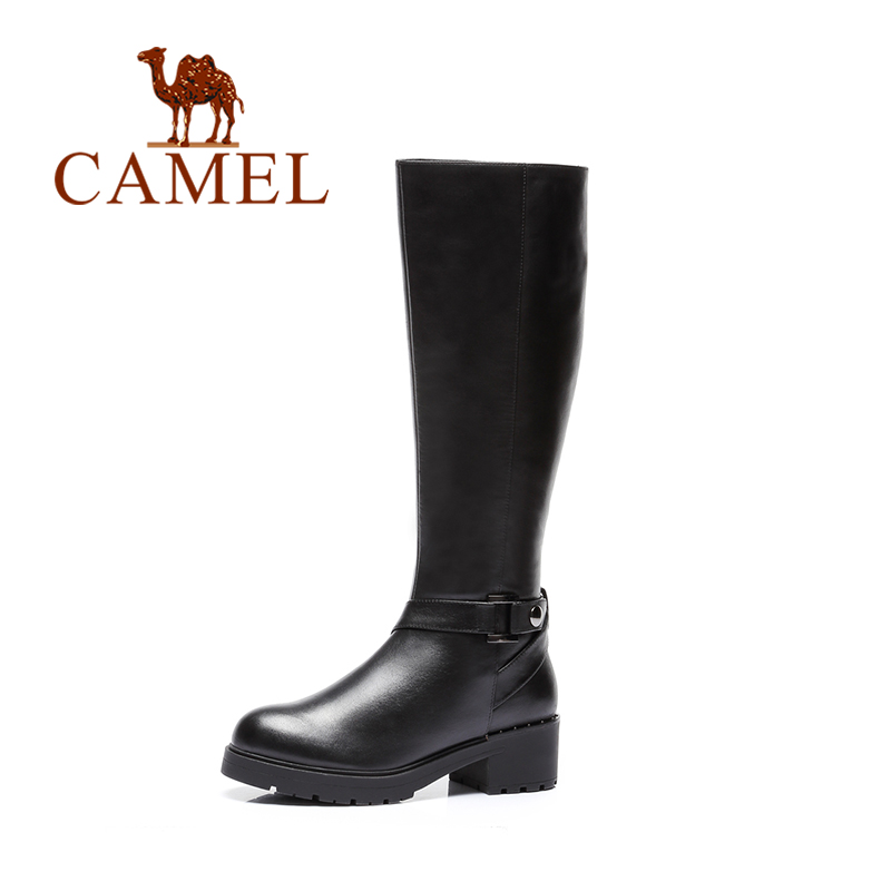 CAMEL Fashion Ladies Winter Leather Knee High Boots Women Soft Woman Black Buckle Warm Fur Women Thigh High Boots Shoes Female цена