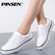 PINSEN 2019 Women Autumn Casual White Shoes Woman Brogue PU Leather Flats Lace Up Footwear Female Flat Oxford Shoes For Women
