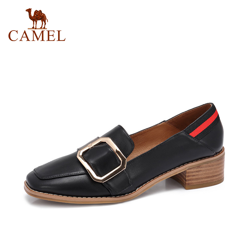 CAMEL Spring New Women Med Heel Genuine Leather Shoes WOmen Casual Fashion Buckle Square Toe Single
