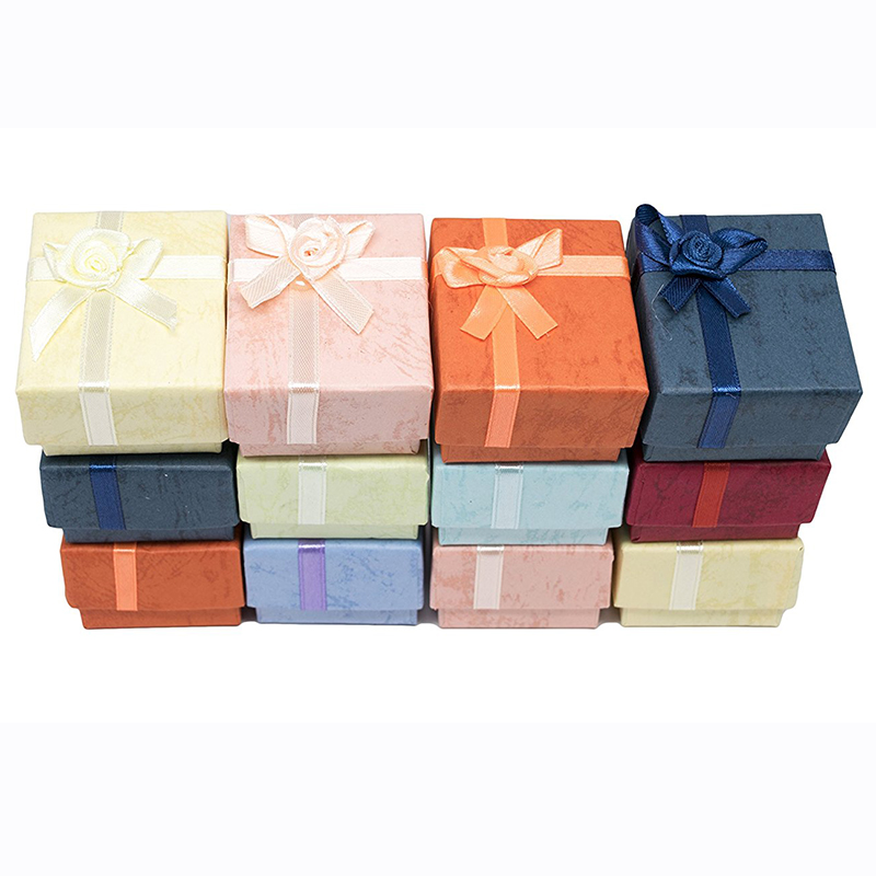 4x4x3cm Paper Jewelry Packaging Small Ring Earring Gift Box 48pcs/lot