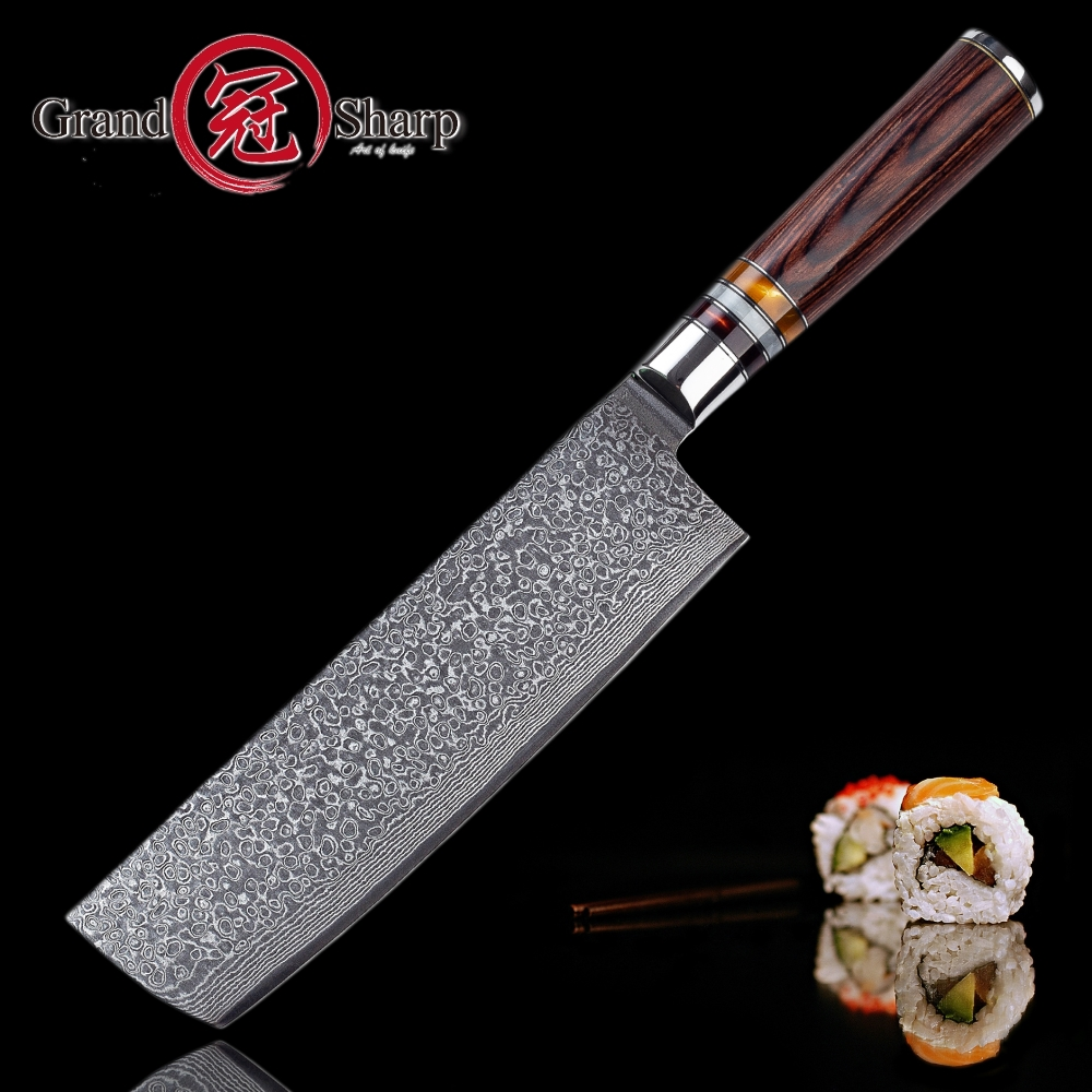 Nakiri Knife 7 Inch 67 Layers Japanese Damascus Stainless Steel Asian Kitchen Knife Chef Vegetables Knives