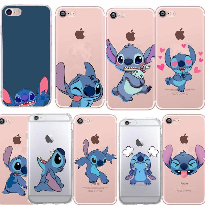 Lucu Stitch Case Lembut TPU Bangkai Ponsel Case untuk iPhone 7 Capa Funda Coque iPhone 5 5S SE 6 S 7 8X7 Plus 7 Plus Silicone Cover