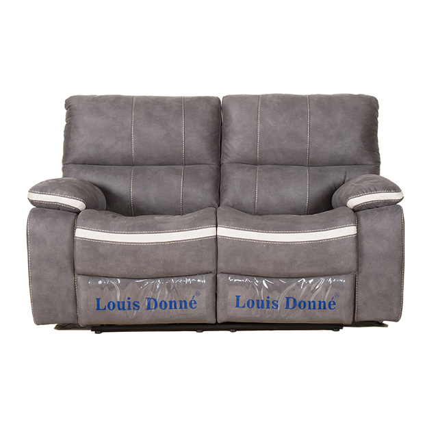 Louis Donne Classic Dark Grey Fabric Oversize Recliner Loveseat Sofa Ultra Comfortable Living Room Chair