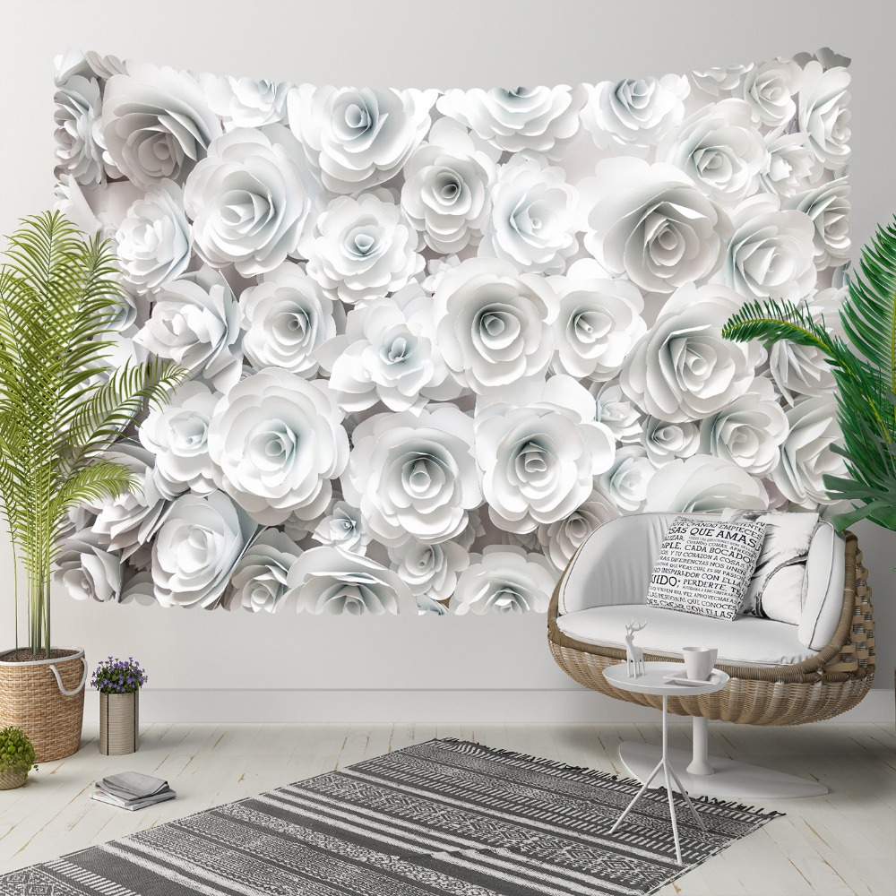 Else White Gray Roses Florals Flowers Nature 3D Print Decorative Hippi Bohemian Wall Hanging Landscape Tapestry Wall Art