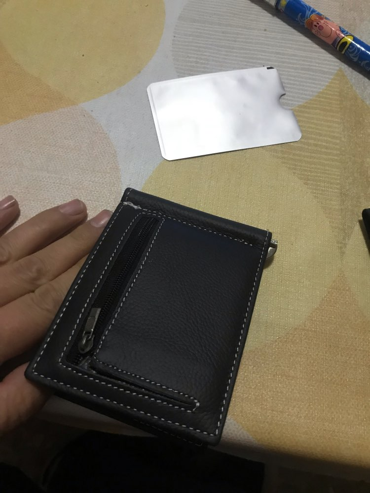 Famous Brand Soft Genuine Leather Money Clip with Zipper Coin Pocket Slim Male Wallet Purse Money Dollar Holder Carteras for Men photo review